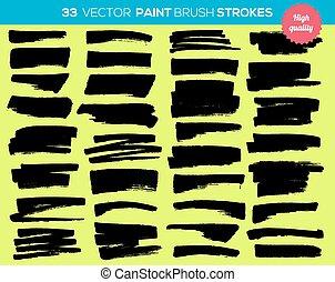 33 vector paint brushes. Ink strokes, paint splash set....