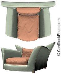 33.eps, fauteuil, vecteur, moderne