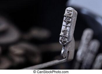 3/4, és, 1/4, kalapács, -, öreg, manual írógép, -, hideg, blue beszivárog