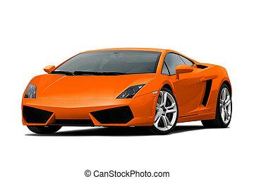 3/4 view of orange supercar
