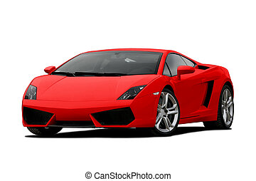 3/4 view of red supercar isolated on white