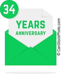 34 years anniversary icon in green open letter