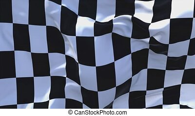 340. Racing Chequered Flag Waving in Wind Continuous...