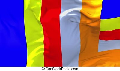 341. Buddhist Flag Waving in Wind Continuous Seamless Loop Background.