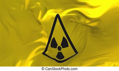 344. Radiation Nuclear Sign Flag Waving Continuous Seamless...