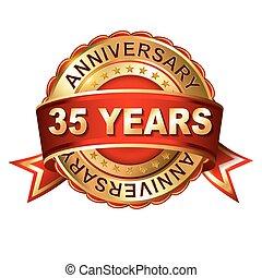 35, años, aniversario, dorado, etiqueta, con, ribbon.