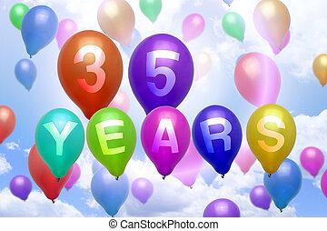 35, años, feliz cumpleaños, globo, globos coloridos