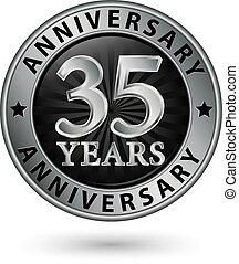 35, anni, anniversario, argento, etichetta, vettore, illustrazione
