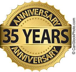 35, anni, anniversario, dorato, etichetta