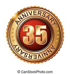 35, anni, anniversario, dorato, label.