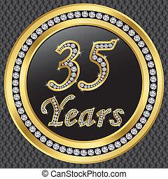 35, anni, anniversario, felice, birthda