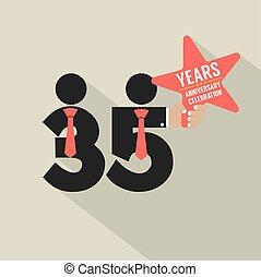 35, anni, anniversario, tipografia, disegno, vettore, illustrazione