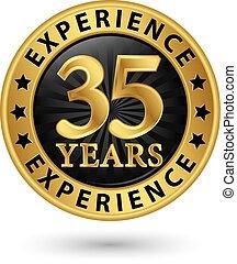 35, anni, esperienza, oro, etichetta, vettore, illustrazione