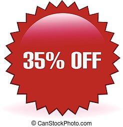 35, cento, desligado, adesivo