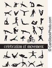 35 human silhouettes in moves