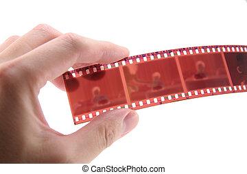 35 mm, asimiento, película, mano