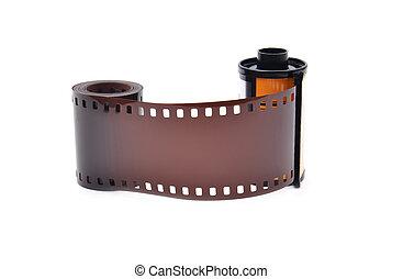 35 mm film cartridge on white background