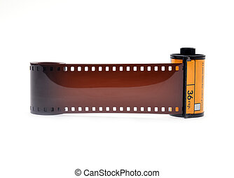35 mm film cartridge on white background