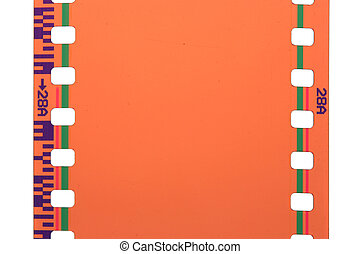 35 mm film close-up isolated over white background
