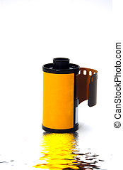 35 mm film - A 35 mm negative isolated against a white...