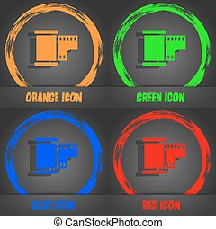 35 mm negative films icon. Fashionable modern style. In the orange, green, blue, red design. Vector