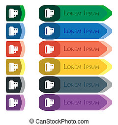 35 mm negative films icon sign. Set of colorful, bright long buttons with additional small modules. Flat design