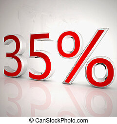 35 per cent over white reflecting background, 3d rendering