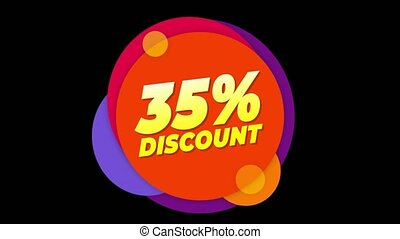 35% Percent Discount Text Flat Sticker Colorful Popup...