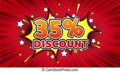 35% Percent Discount Text Pop Art Style Comic Expression.
