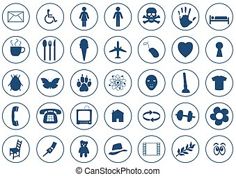 Icons - 35 Various Blue Icons on white background