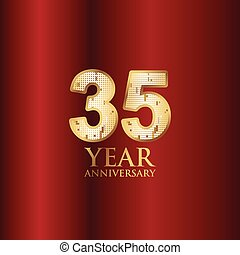 35 Year Anniversary Gold With Red Background Vector Template Design Illustration
