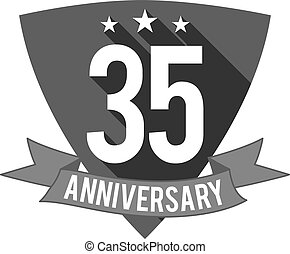 35 years Anniversary badge, sign and emblem. Flat design. Easy to edit and use your number, text. Vector illustration isolate on white background. Monochrome.