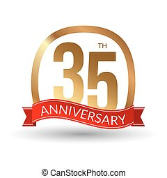 35 years anniversary experience gold label with red ribbon, vector illustration
