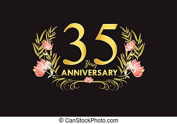 35 Years anniversary gold watercolor wreath vector