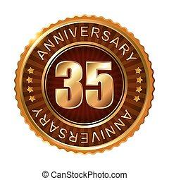 35 years anniversary golden brown label.