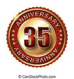 35 Years anniversary golden label.