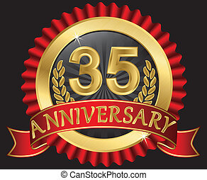 35 years anniversary golden label with ribbons, vector ...