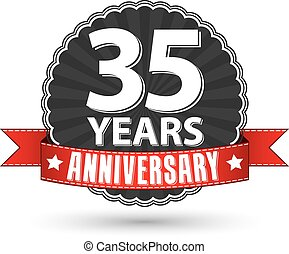 35 years anniversary retro label with red ribbon, vector illustration