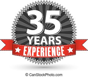35 years experience retro label with red ribbon, vector...