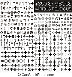 350, symbole, vektor, verschieden, religio