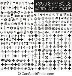 350, symboler, vektor, olika, religio