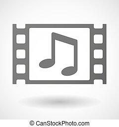 35mm film, cornice, con, uno, nota, musica