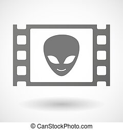 35mm film frame with an alien face