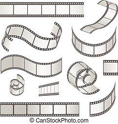 35mm., media, vettore, negativo, film, cornice, diapositiva, set, striscia, rotolo, filmstrip, illustrazione