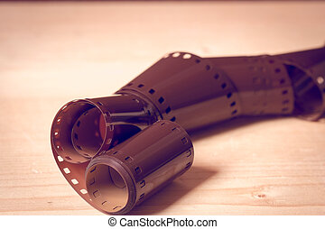 35mm negative film with filter effect retro vintage style