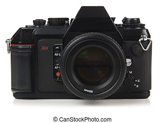 35mm SLR orthographic view - 35mm SLR camera shot on white...
