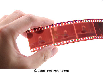 35mm, utrzymywać, film, ręka