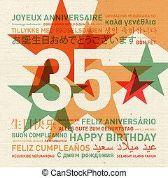 35th, aniversario, feliz cumpleaños, tarjeta, de, el mundo