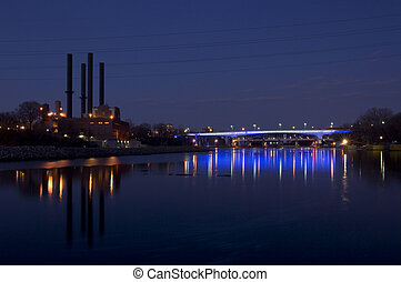 35W Bridge Illuminated in Blue