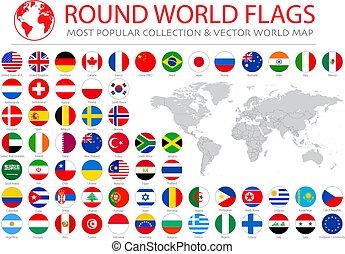 36, propre, collection., icônes, drapeaux, qualité, élevé, rond, vecteur, mondiale